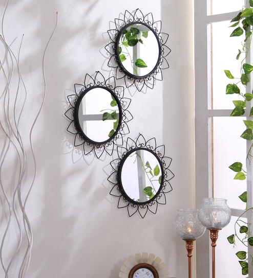 Hosley Black Iron Gl Round Decorative Wall Mirrors Set Of 3