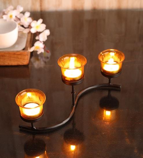 Black Metal Table Tea Light Holder