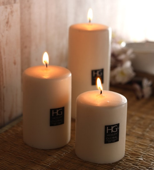 Hosley Set 3 Unscented Multi Size Decorative Pillar Candle