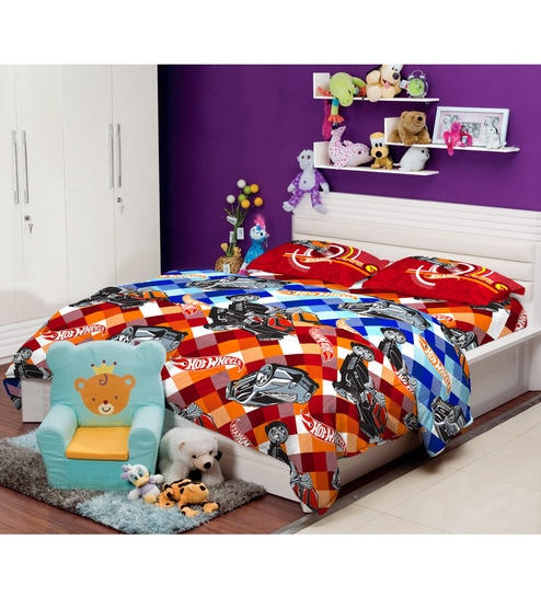 Hot Wheels King Size Bedsheet With 2 Pillow Covers In Multicolour By  Portico New York