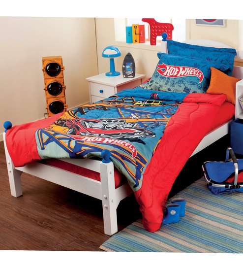 Nice Hot Wheels Single Size Bedsheet With A Pillow Cover In Multicolour By  Portico New York