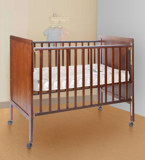 Howard Solid Wood Baby Cot In Teak Finish By Babycenter