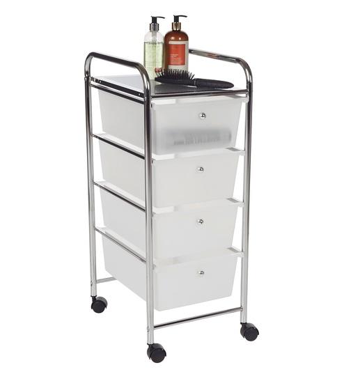 Buy howards storage world 4 drawer chrome storage trolley - Howards storage ...