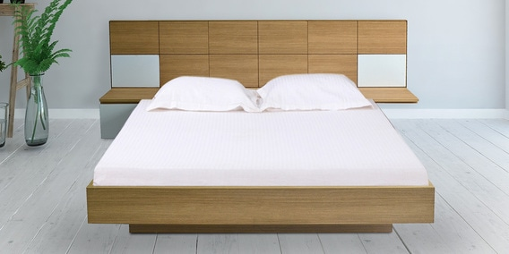 Horizon Platform King Size Bed With Storage Side Tables In Urban Teak Finish By Unicos