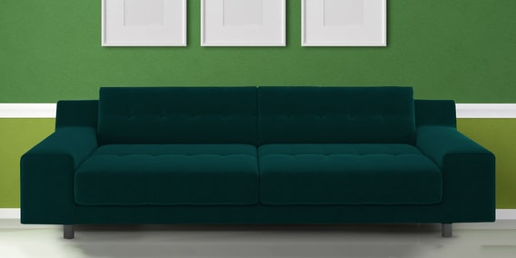 House Three Seater Sofa In Dark Green Velvet By Dreamzz Furniture