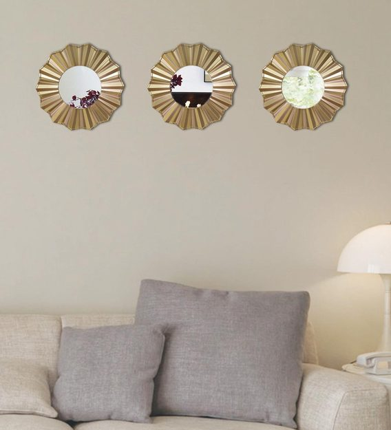 3 Decorative Gold Wall Mirror, Decorative Mirrors For Living Room
