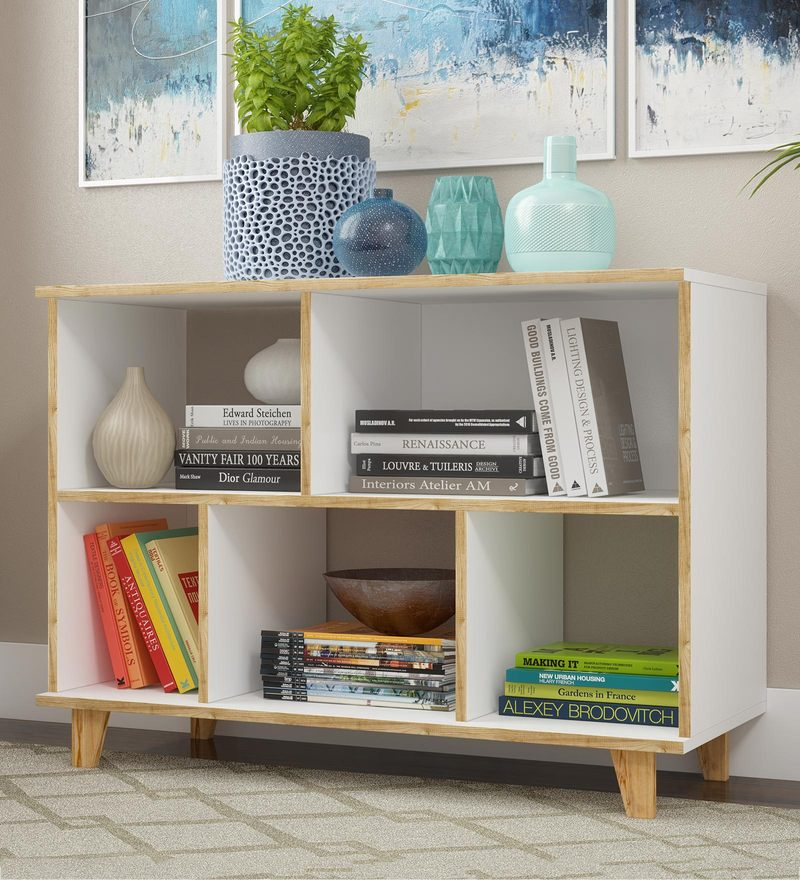 buy zig zag display cum book shelf by wood dekor online modernhokuo book shelf in white \u0026 pine finish by mintwud
