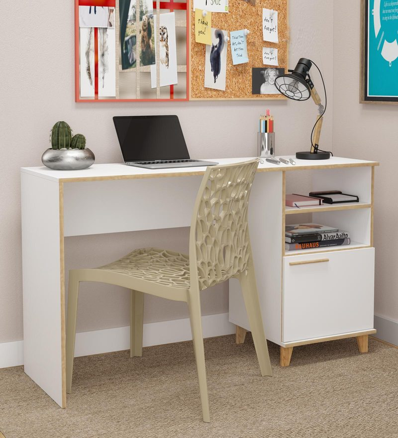 Buy Hokuo Study Table In White Pine Finish By Mintwud