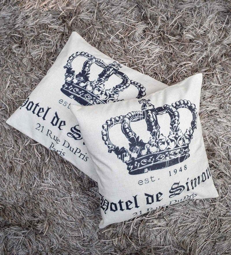 Home Artisan Beige Linen 18 x 18 Inch Simone Crown Print Cushion Cover