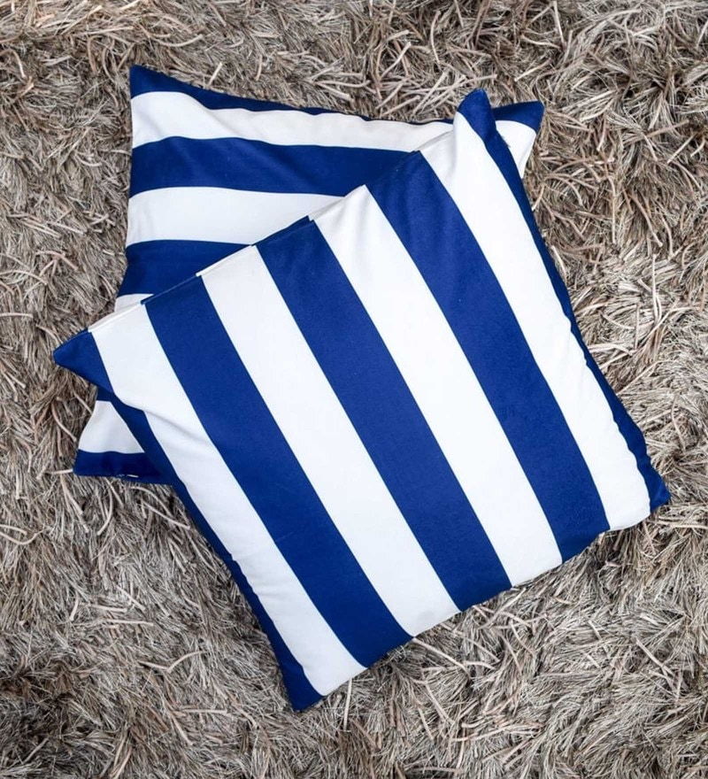 Home Artisan Blue And White Cotton Suede Blend 18 x 18 Inch Dumar Vertical Stripe Cushion Cover