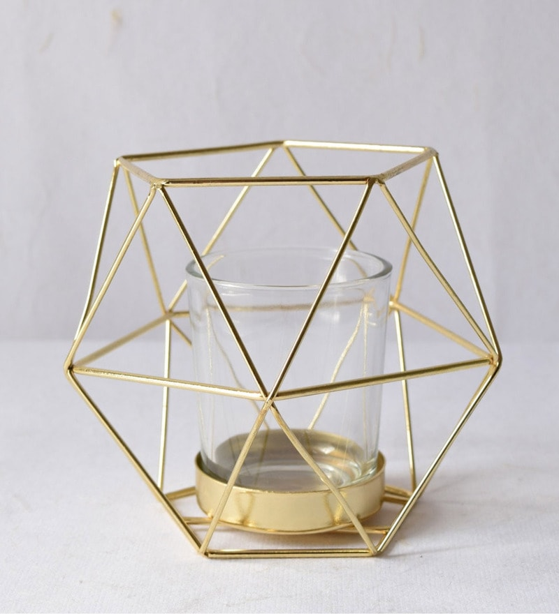 Buy Gold Metal Amp Glass Geometric Small Candle Holder By