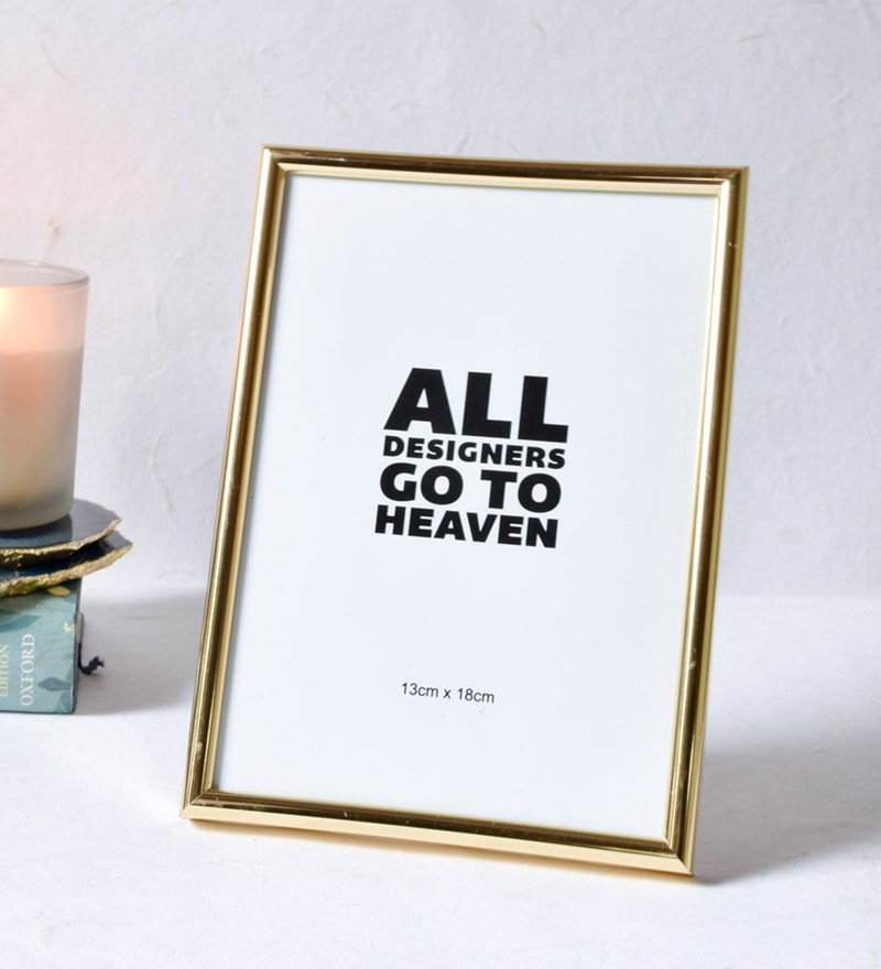 Gold Plastic & Glass Minimal 5x7 Inch Photo Frame by Home Artisan