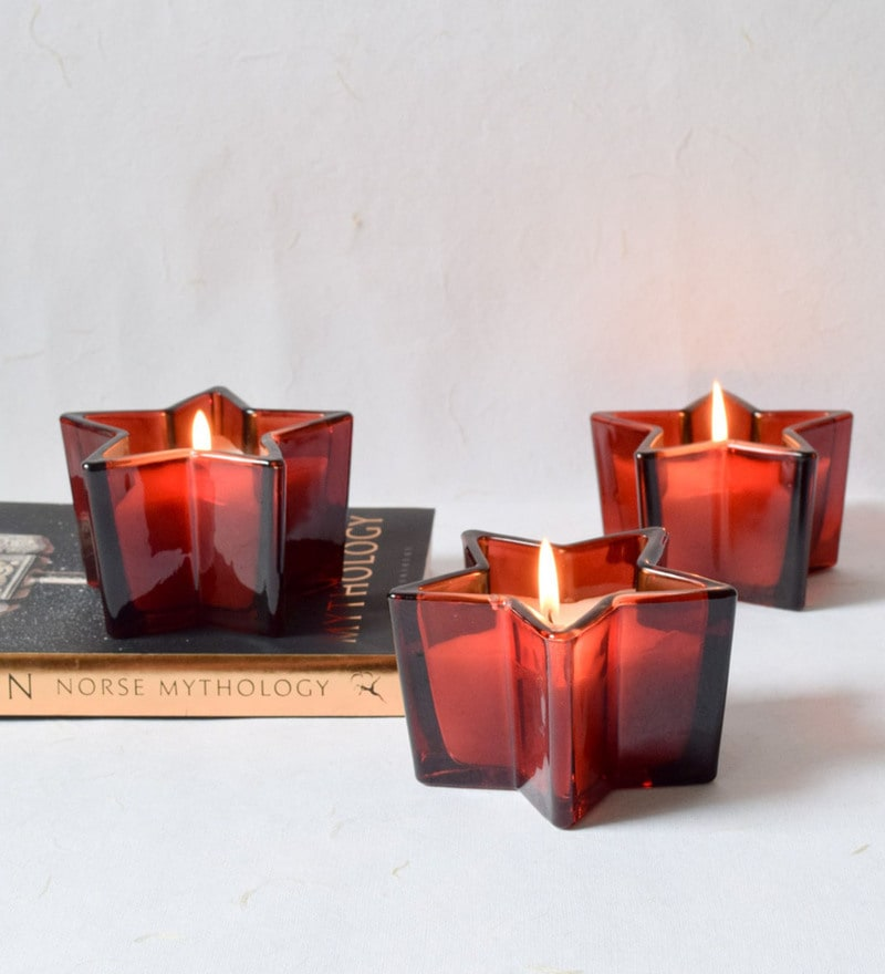 Red Glass & Wax Starburst Candles - Set of 3 by Home Artisan