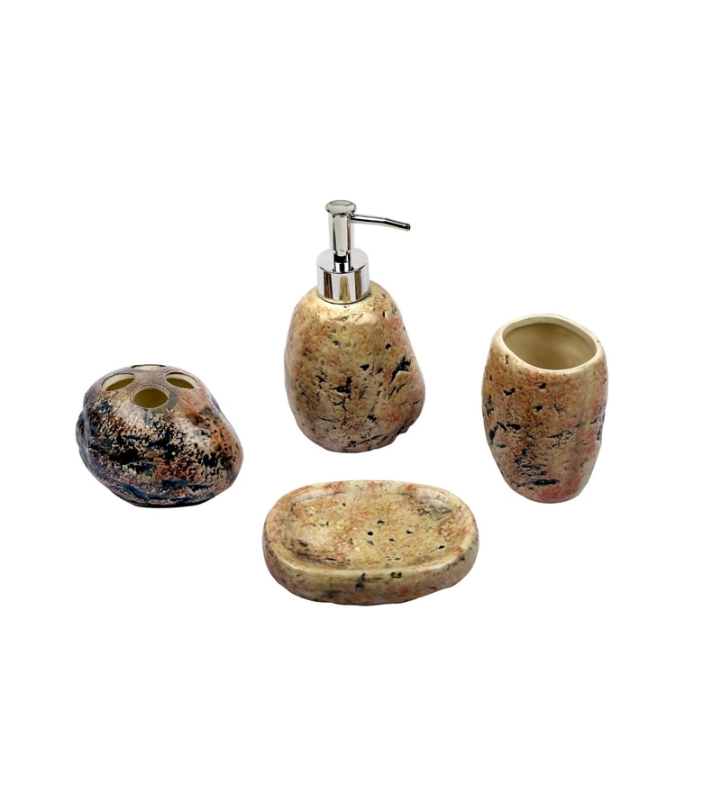 Home Belle Brown Ceramic Bathroom Accessories - Set of 4