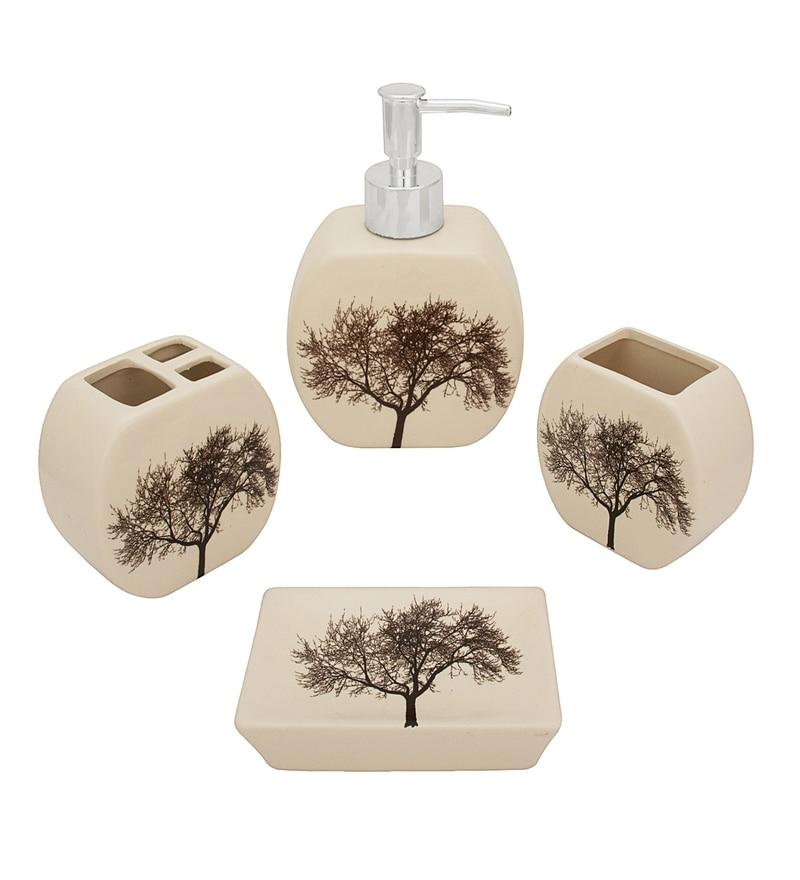 Home Belle Multicolour Ceramic Bathroom Accessories - Set of 4