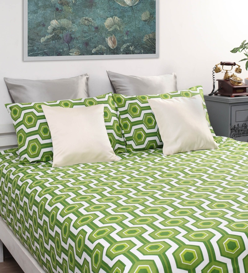 Green Cotton Printed Double Bed Sheet with 2 Pillow Covers-Set of 3 by Home Ecstasy