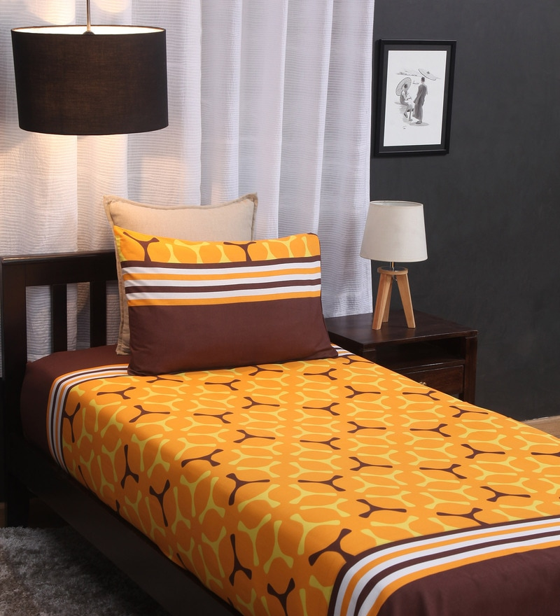 Yellow Cotton Single Size Bed Sheet - Set of 2 by Home Ecstasy