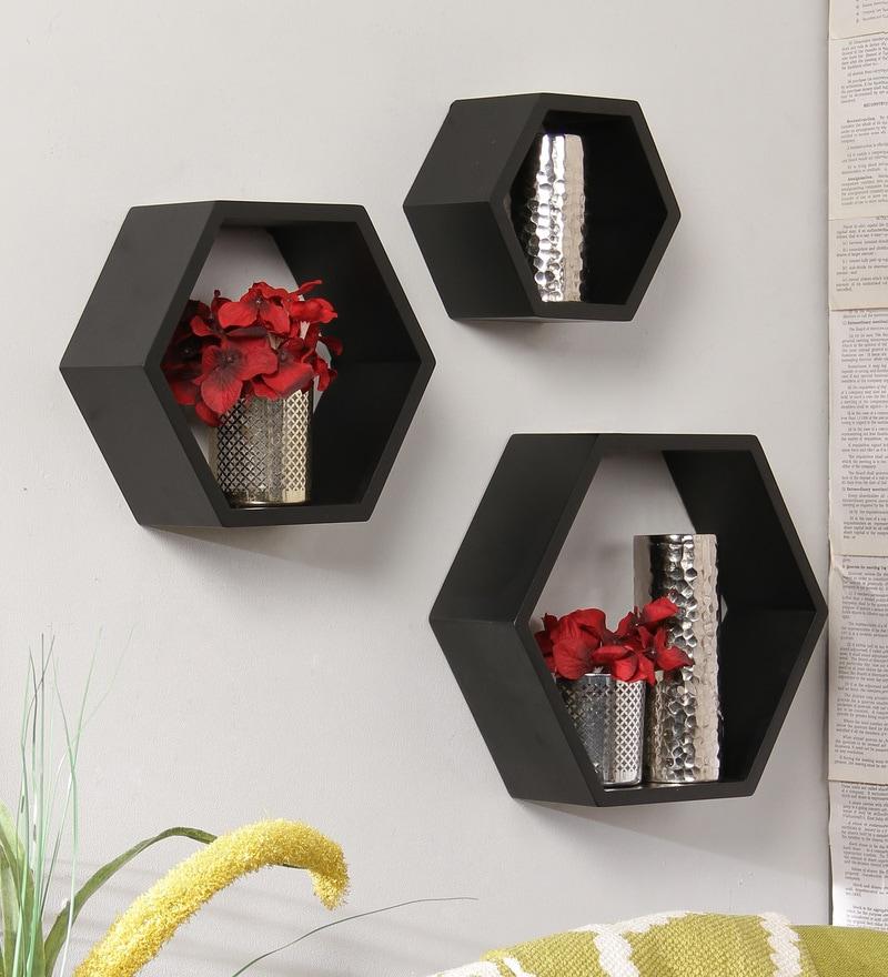 Black Engineered Wood Hexagonal Wall Shelf - Set of 3 by AYMH