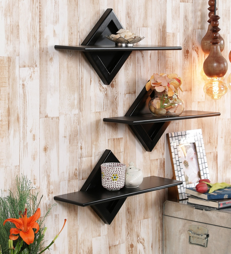 Buy Decorative Wall Shelf Set Of 3 In Black Finish By Home Sparkle