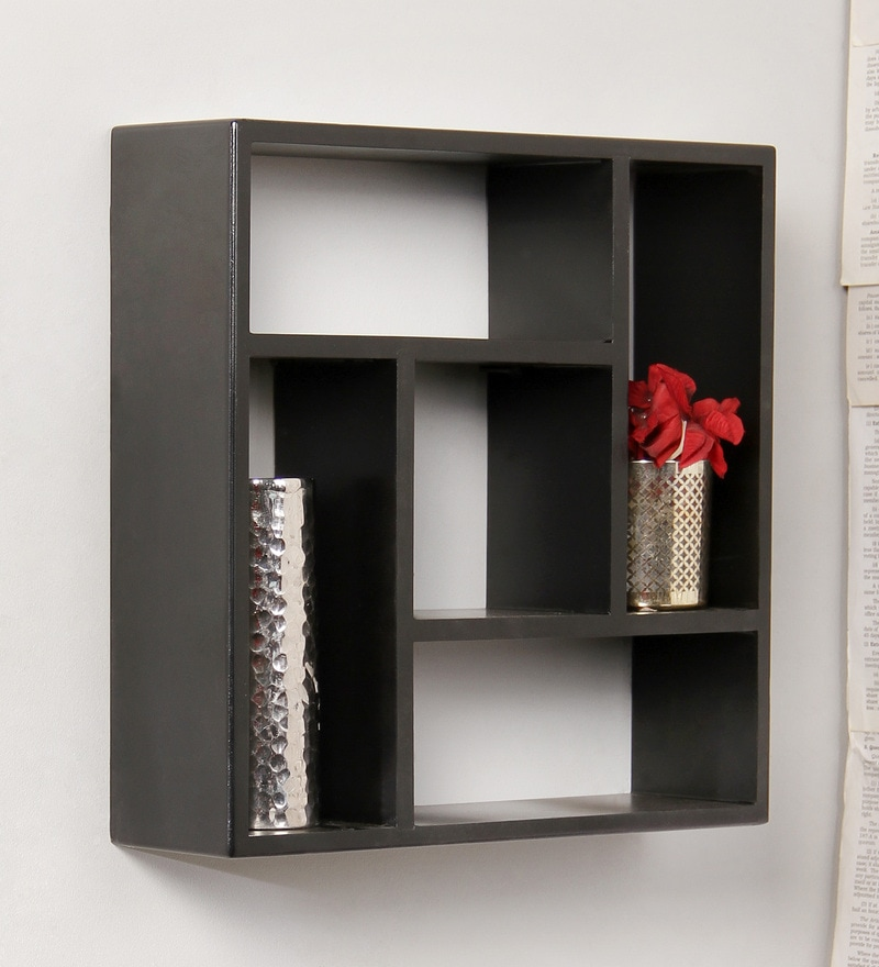 Black Engineered Wood Wall Shelf by  Home Sparkle