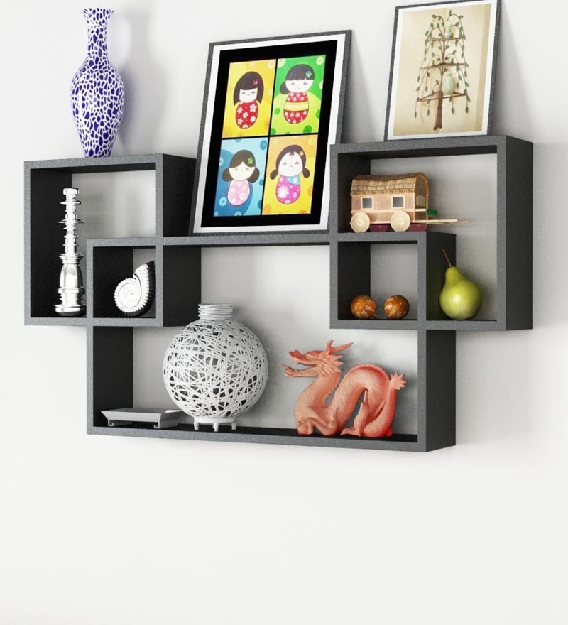 Black Engineered Wood Mozaic Shelf by Home Sparkle