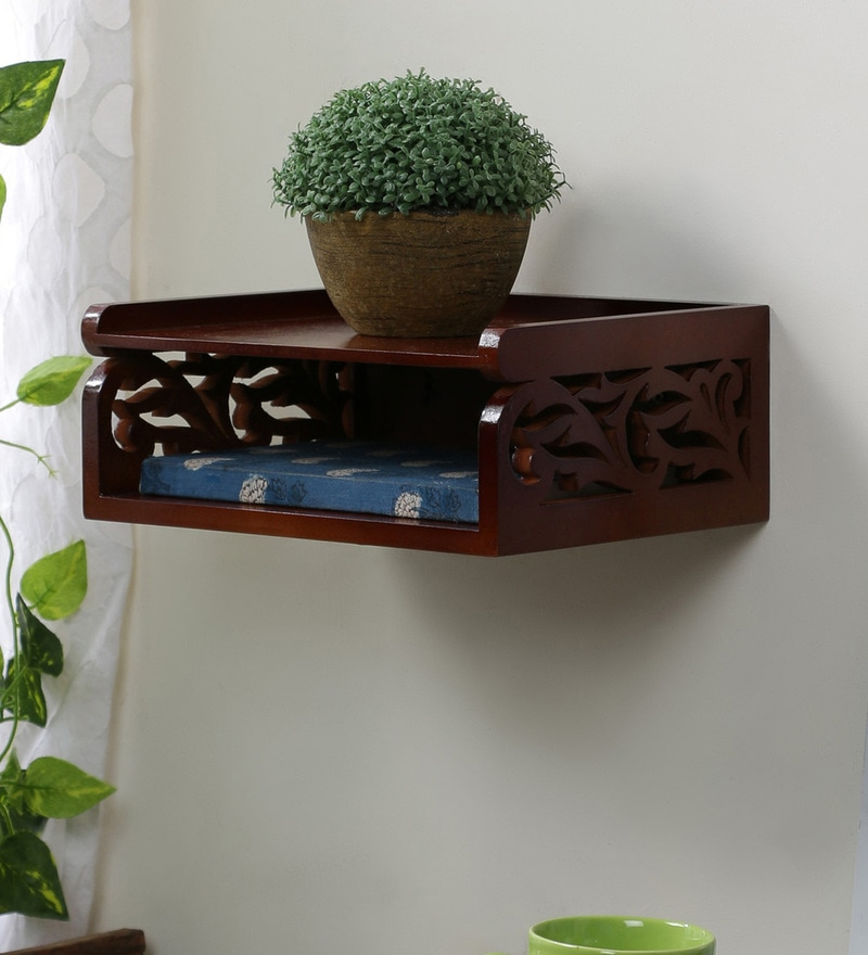 Carved Decorative Wall Shelf cum Set-Top Box Holder in Brown Finish by Home Sparkle