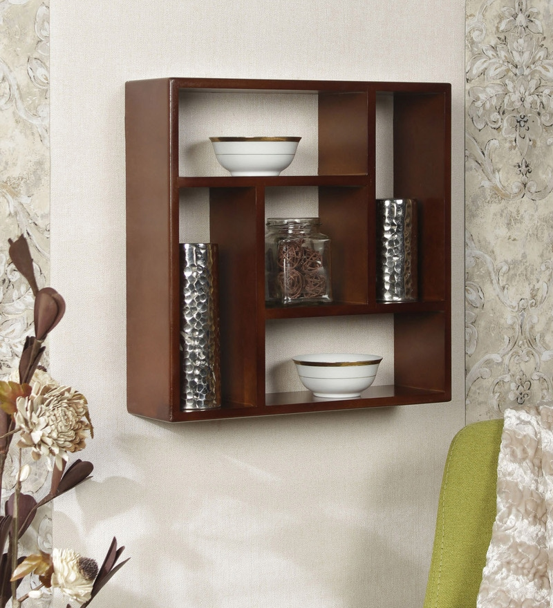 Brown Engineered Wood Square Shelf by Home Sparkle