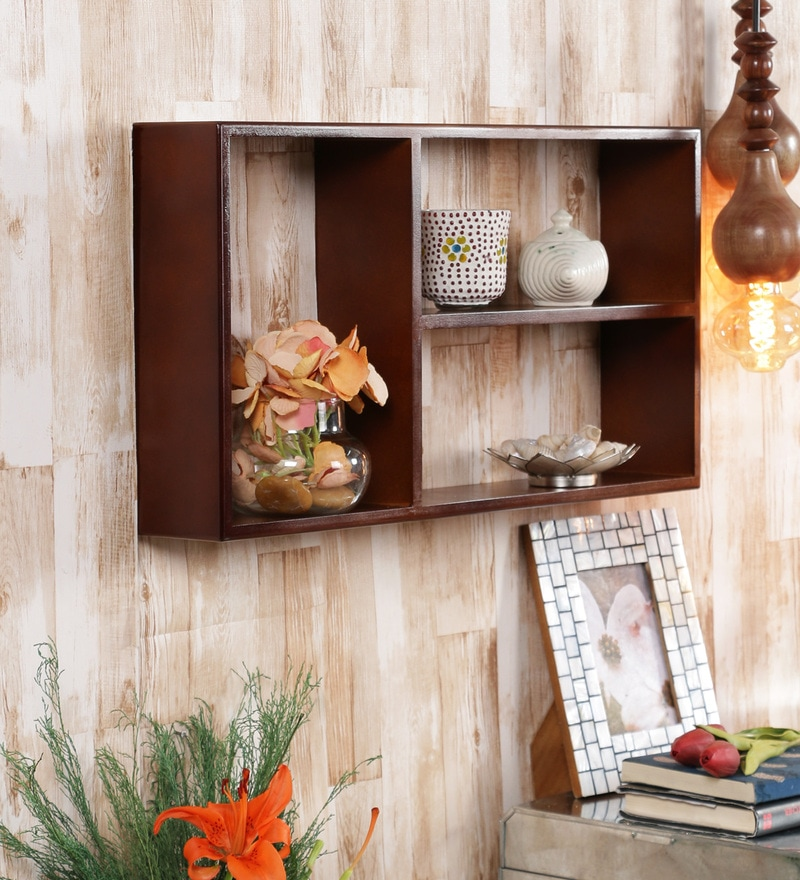Brown Engineered Wood Wall Shelf by Home Sparkle