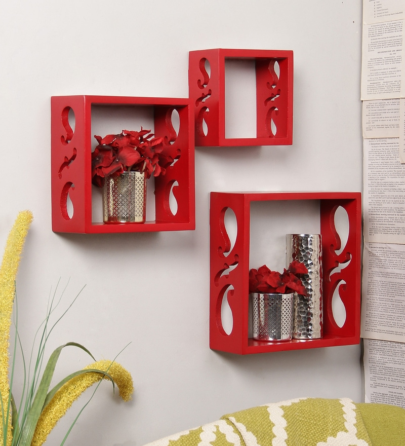 Red Engineered Wood Durable Shelf - Set of 3 by Home Sparkle
