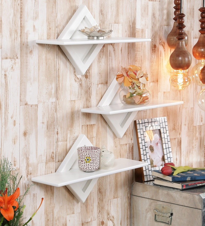 White Engineered Wood Shelves - Set of 3 by Home Sparkle