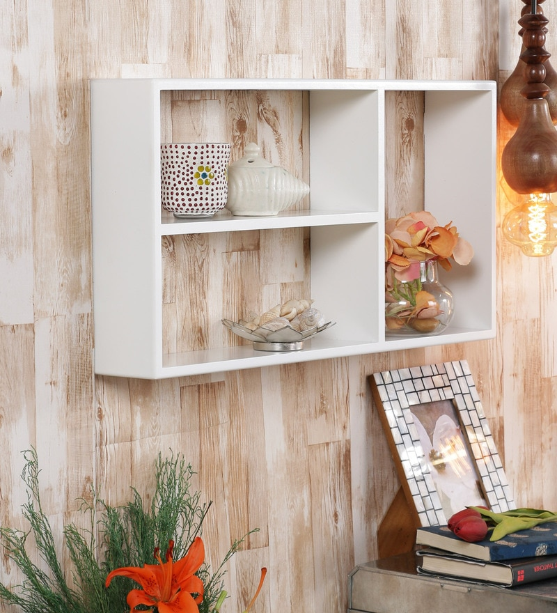 White Engineered Wood Square Shelf by Home Sparkle