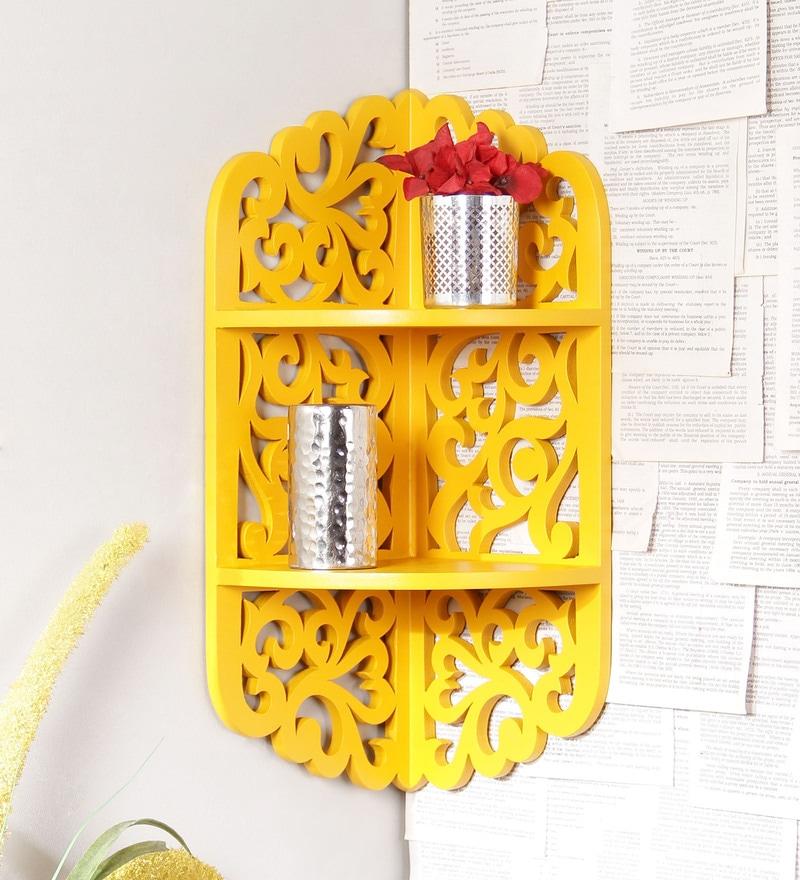 Yellow Engineered Wood Carved Corner Shelf by AYMH