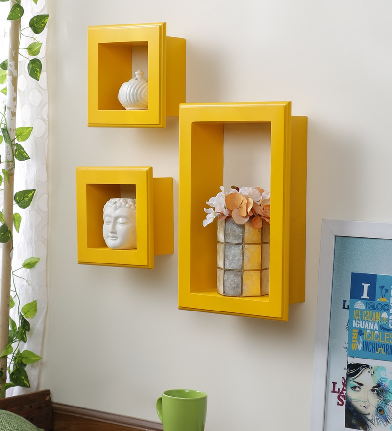 Yellow Mango Wood Wall Shelves - Set of 3 by AYMH