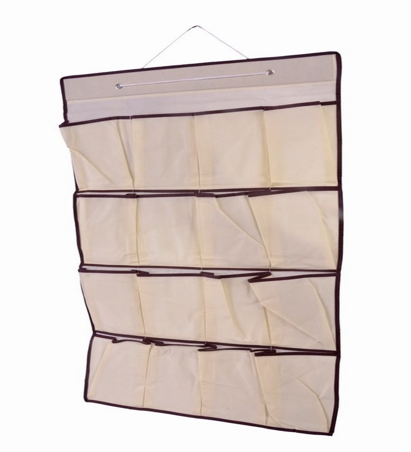 Plastic Cream 16-Pocket Hanging Organiser by Home Union