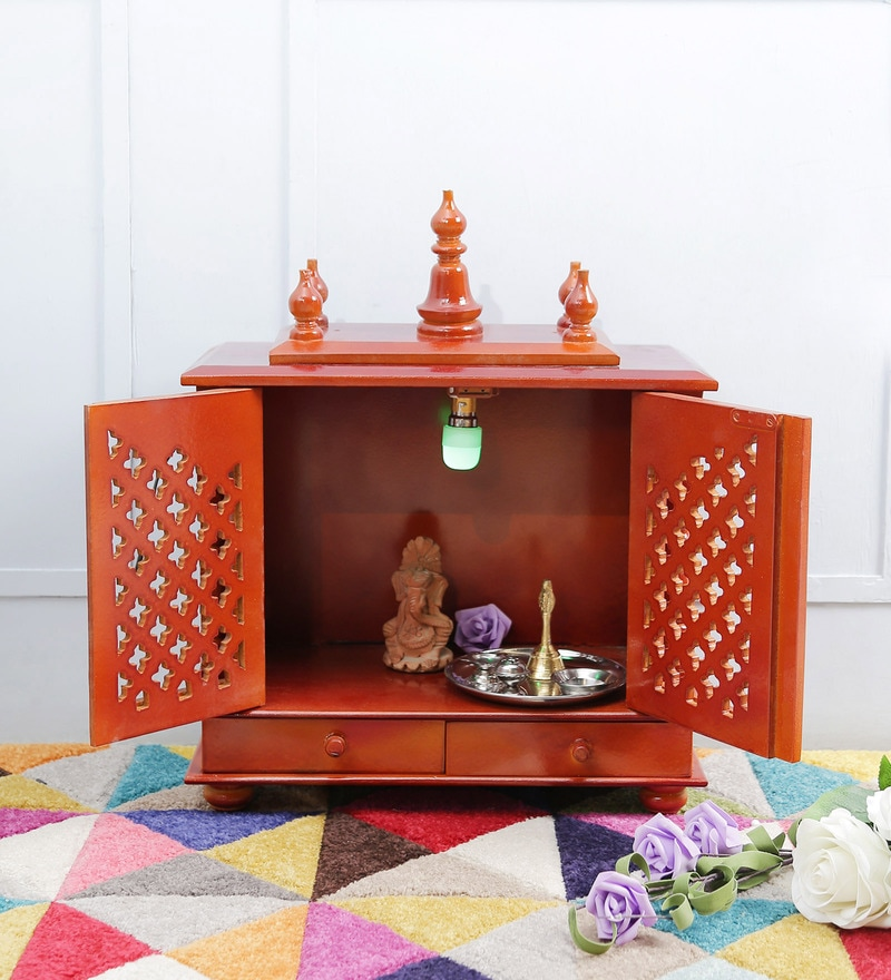 Honey MDF & Mango Wood Medium Home Temple with Door by Homecrafts