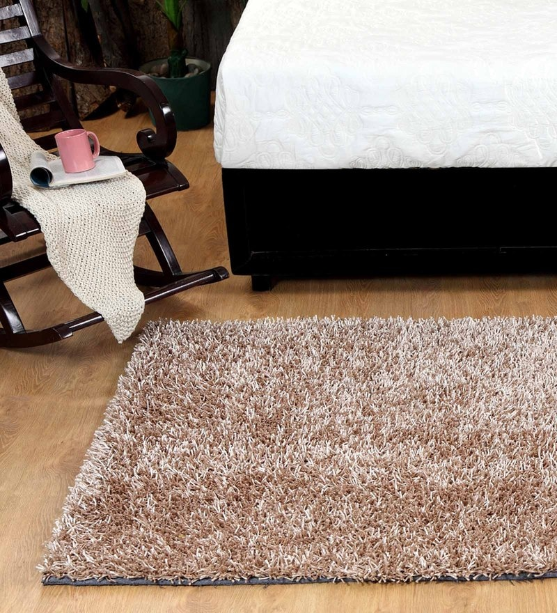 Beige Polyester 72 x 48 Inch Malai Dori Carpet by HomeFurry