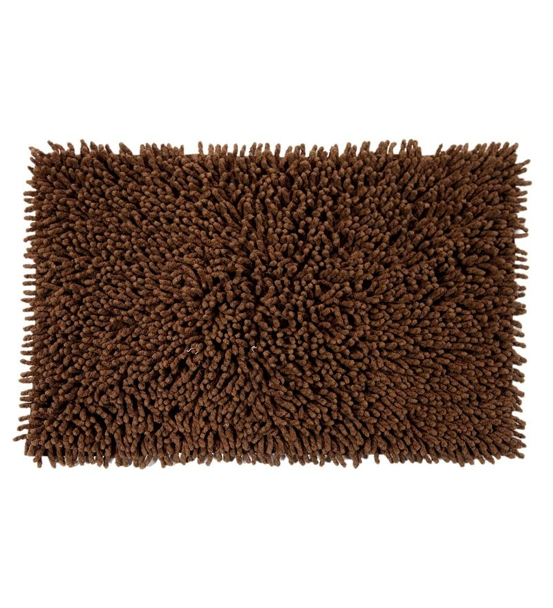 Brown Cotton 24 x 16 Inch Chevy Bath Mat by HomeFurry