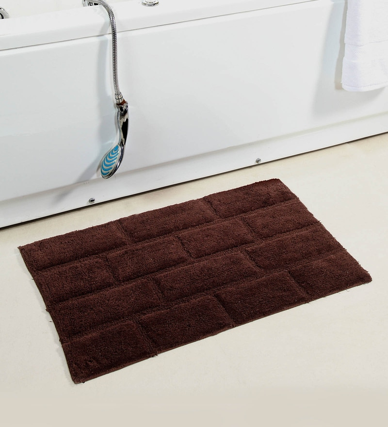 Coffee Brown Glossy Bricks 20 X 32 Inch Cotton Bath Mat by HomeFurry