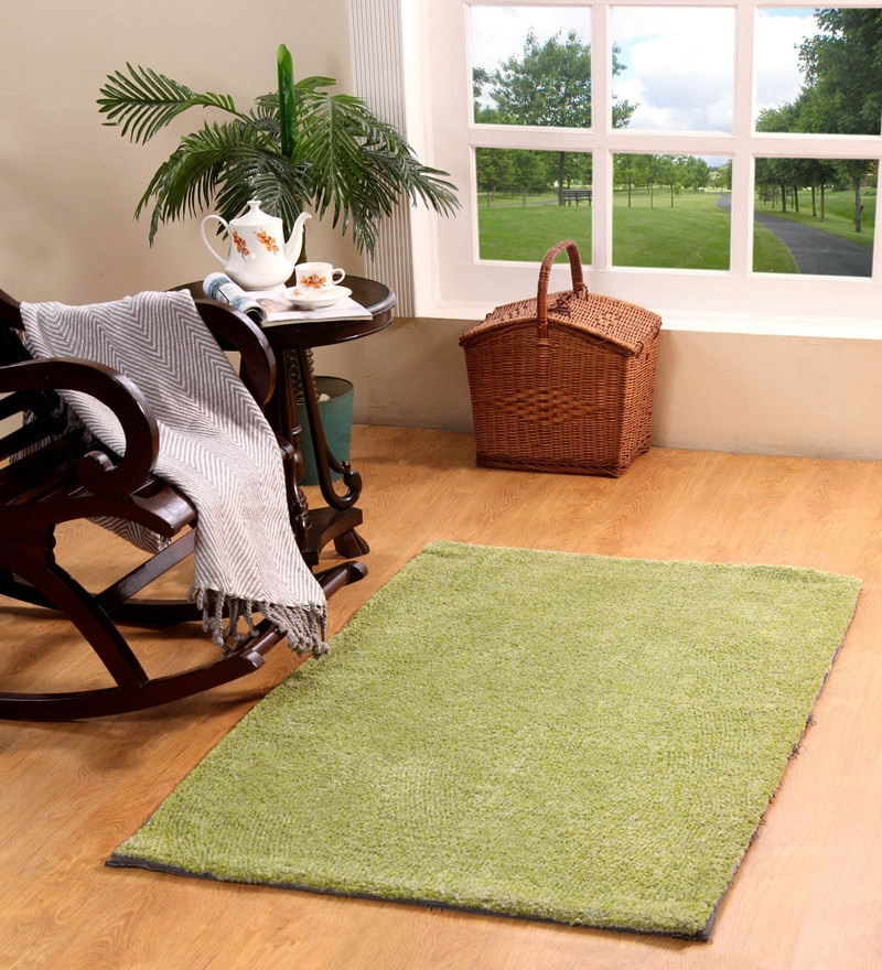 Green Polyester 60 x 36 Inch Planx Area Rug by HomeFurry