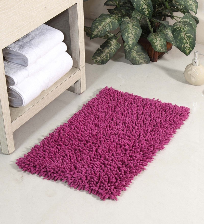 Purple Cotton 24 x 16 Inch Chevy Bath Mat by HomeFurry