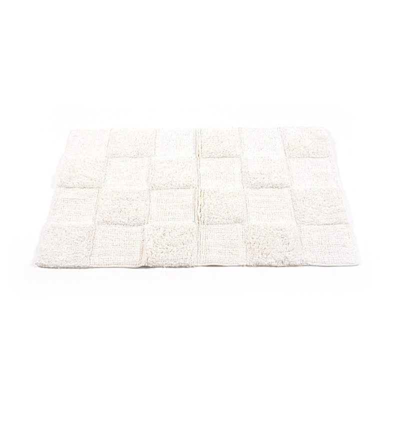 White Glossy Tiles 20 X 32 Inch Cotton Bath Mat by HomeFurry