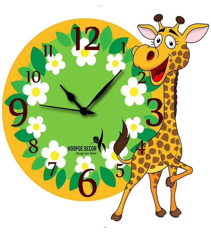 Bay Giraffe with Flowers Kids Wall Clock by Hoopoe Decor