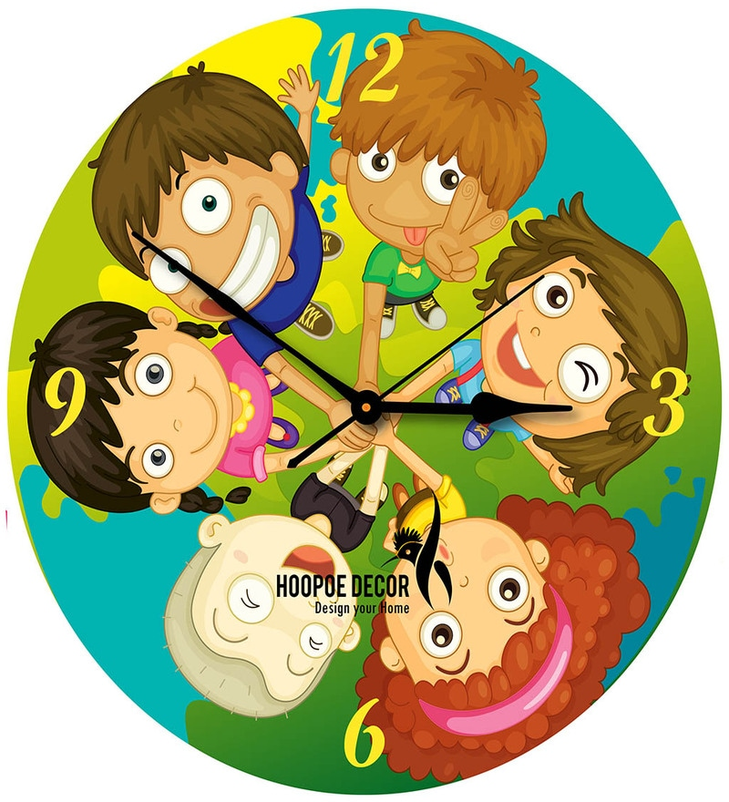 Buy Hoopoe Decor Kids In Friendship Cartoon Wall Clock Online ...