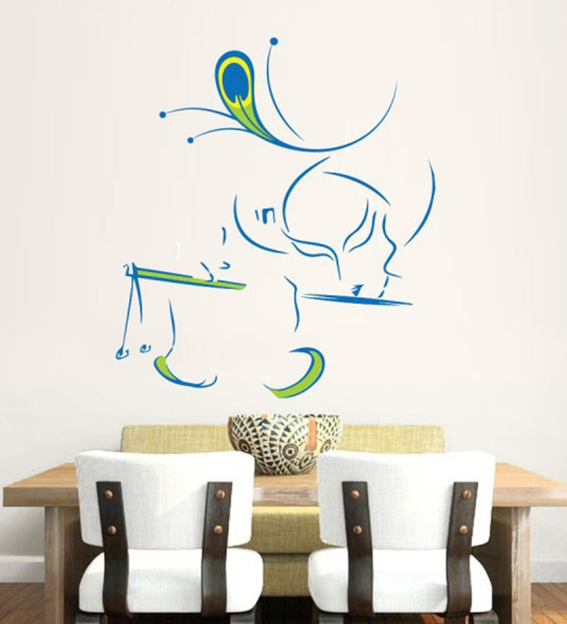 262caf734f Buy Hoopoe Decor Vinyl Lord Krishna with Flute Wall Decal Online ...