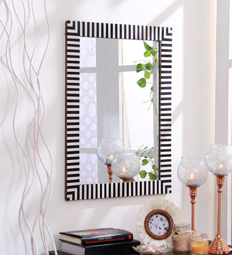 Black & White Resin & MDF Decorative Zebra Wall Mirror by Hosley