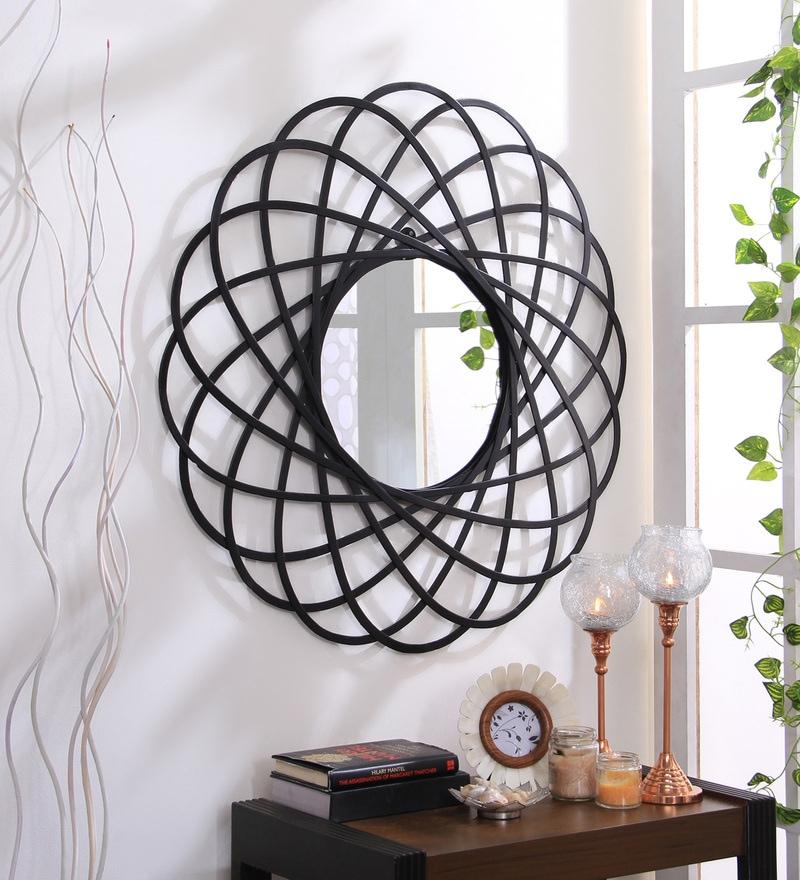 Buy Metal Wall Mirror in Black Color by Hosley Online ...