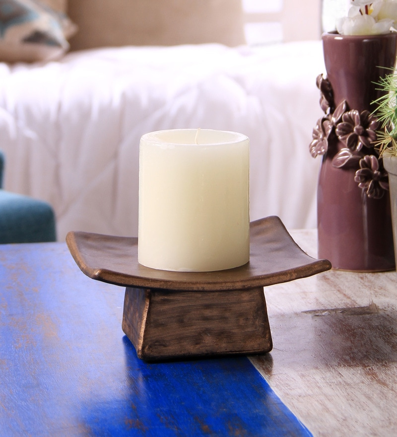 Brown Resin Decorative Pillar Candle Holder by Hosley