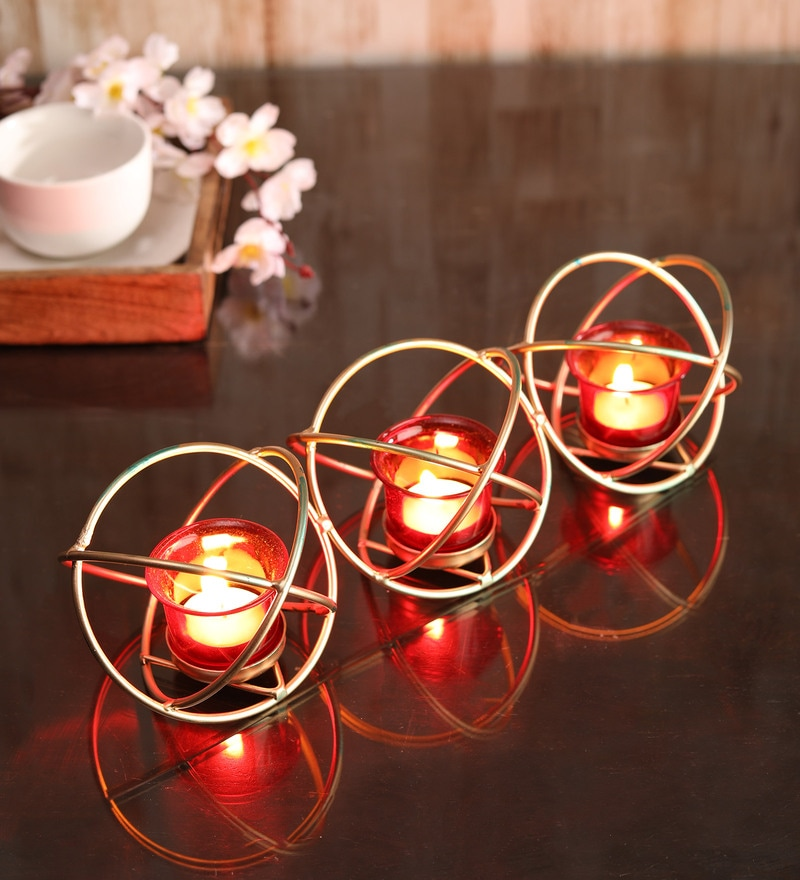 Buy Hosley Iron Tealight Candle Holder With Red Glass Cup