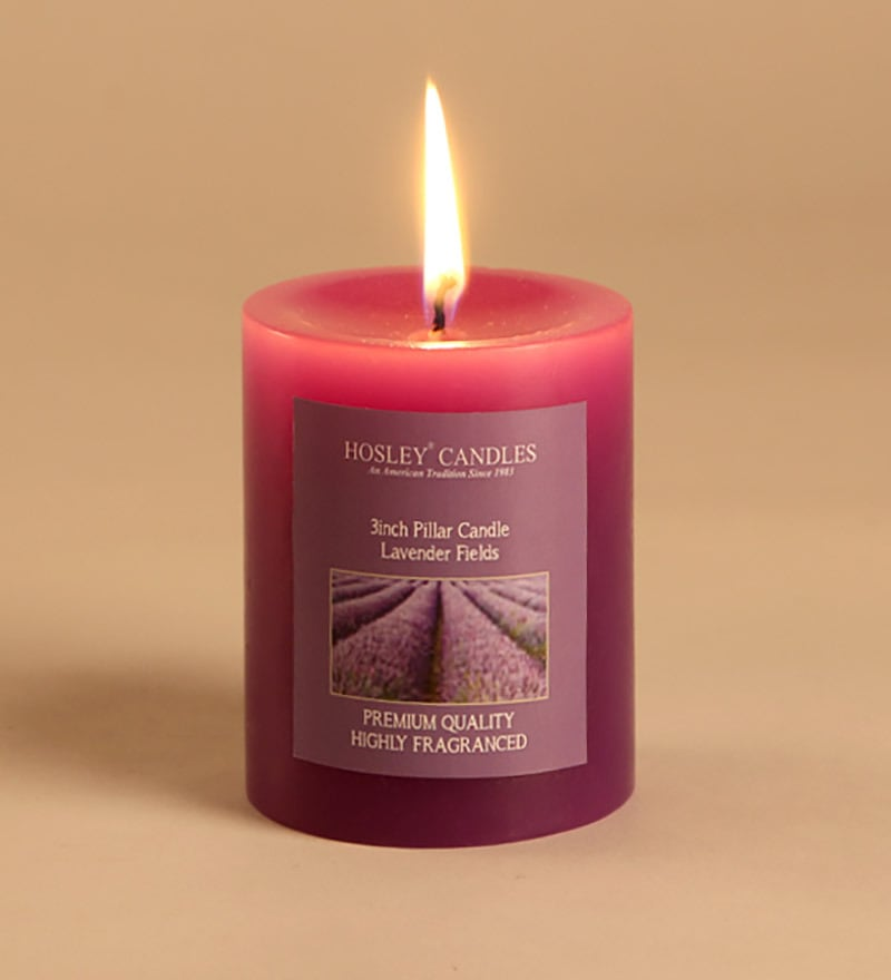 Lavender Fields Purple Pillar Candle by Hosley