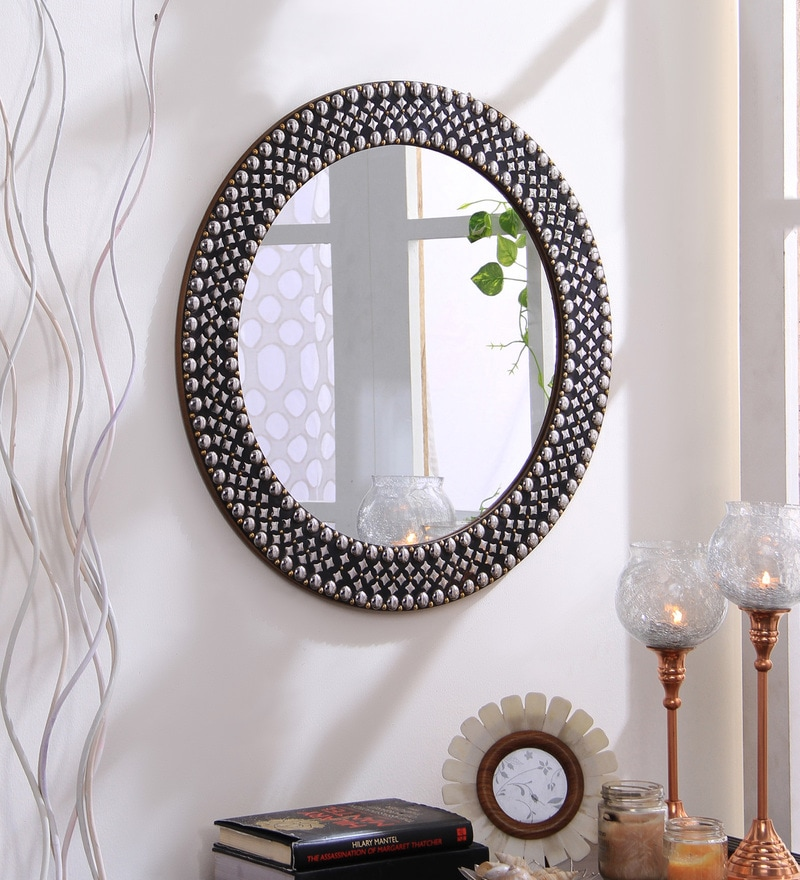 Silver Metal & MDF Decorative Studded Round Wall Mirror by Hosley